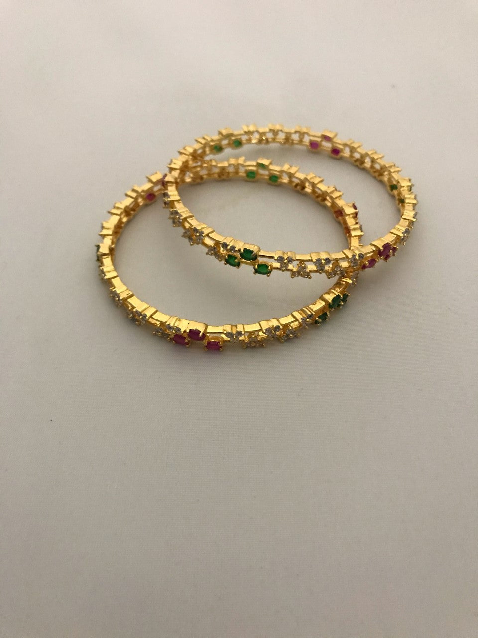 Sri fashion Jewellery Bangles - Green/Pink/White Stones
