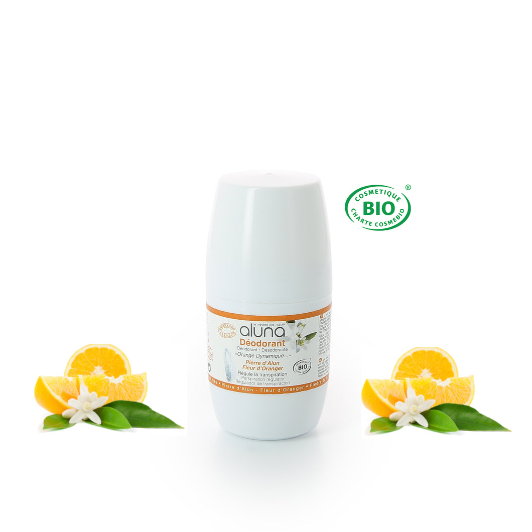 ALUNA - Roll on déodorant Fleur d'Oranger - Orange Dynamique - 50ml