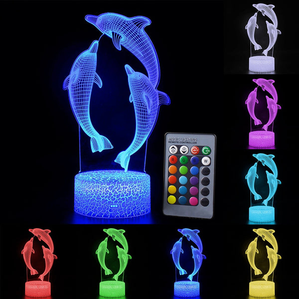 Touch Control Dolphin 3D LED Night Light Lamp