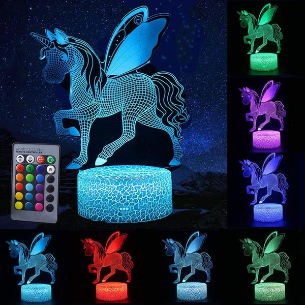 Unicorn Lamp Night Light Pegasus 3D Led Lamps Night Light