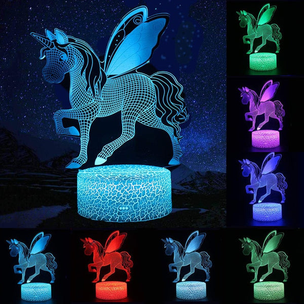 Touch Control Unicorn Shaped 3d Night Light Lamp