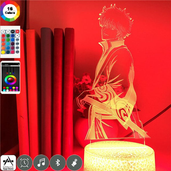Japanese Anime GINTAMA Sakata Gintoki 3D Illusion Lamp