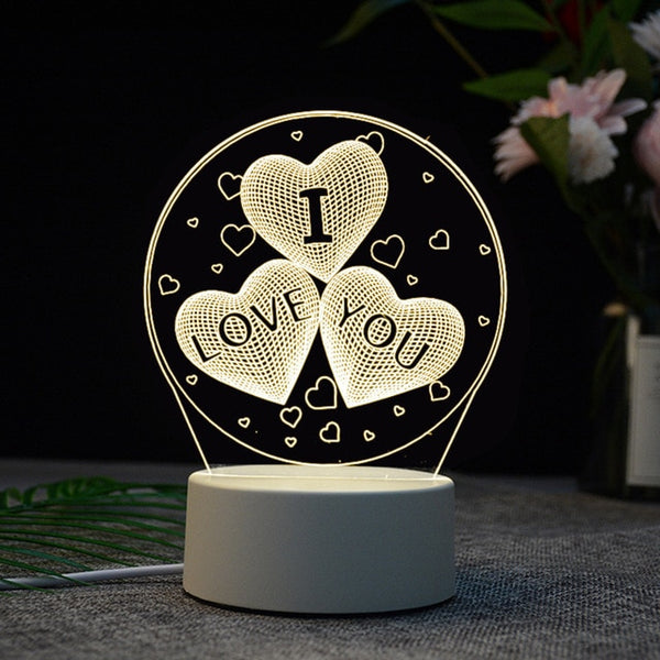 I Love You Acrylic 3D Illusion Night Light Lamp