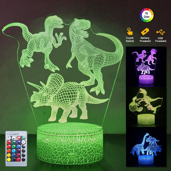 Multi Dinosaur 3D night lamp