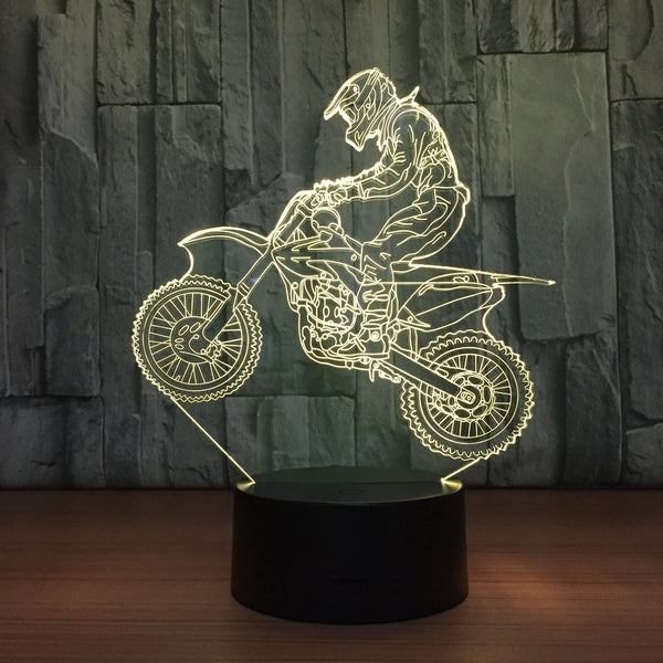 Novelty Motocross Bike 3D Night Light Lamp