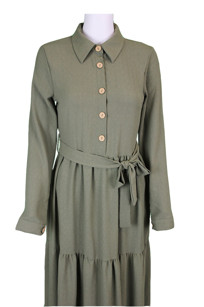 Collared Shirt Dress - Khaki