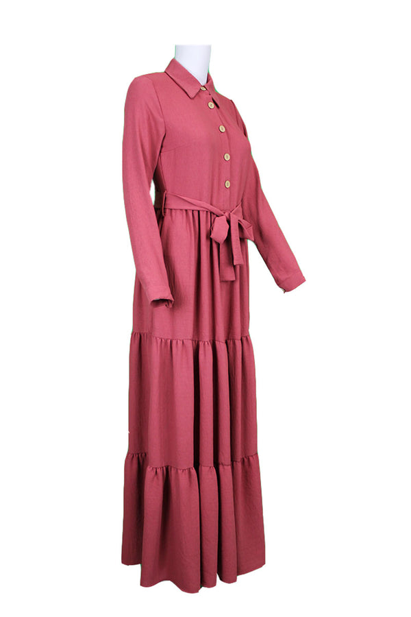 Collared Shirt Dress - Pink