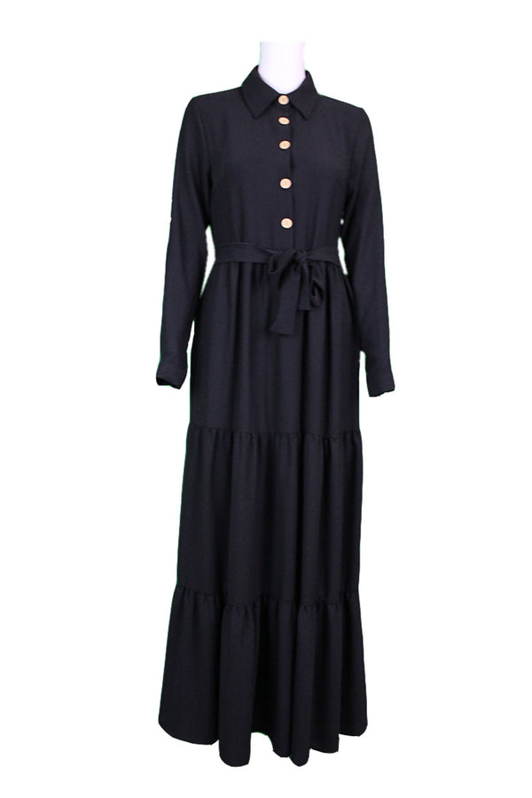 Collared Shirt Dress - Black