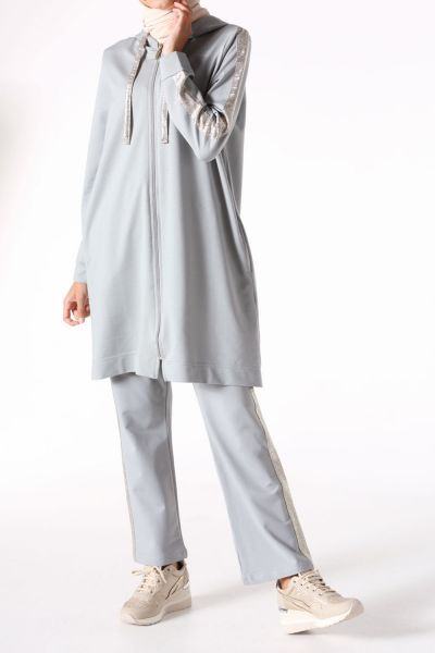 Zipped Activewear Suit - Ice Blue
