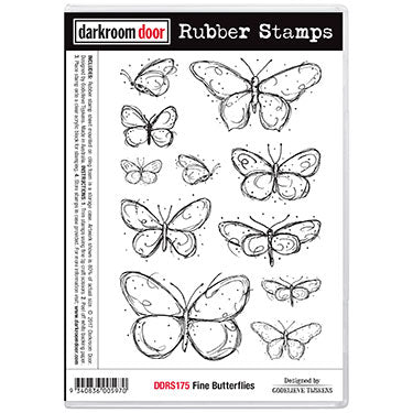 Darkroom Door Rubber Stamp - Fine Butterflies