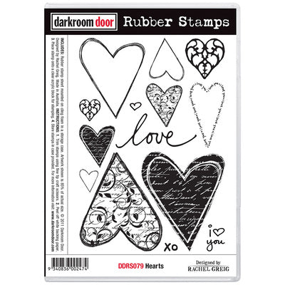 Darkroom Door Rubber Stamps - Hearts