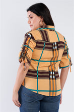 Load image into Gallery viewer, Plus Size Plaid Multi Stripe Cinched Sleeve Button Down Top