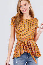 Short Sleeve Round Neck W/belt Peplum Print Dty Top