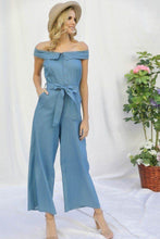 Load image into Gallery viewer, Fold-over Collar Detailed Button Down Off-shoulder Chambray Denim Wide Leg Palazzo Jumpsuit With Waist Tie