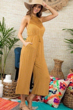 Load image into Gallery viewer, Halter Neck Front Lace Patch Detail Printed Jumpsuit