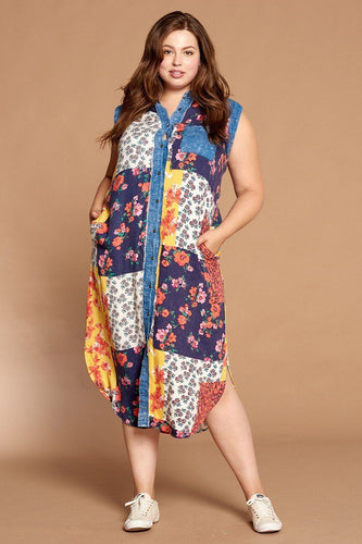 Mixed-floral Patchwork Printed Button-down Maxi Dress