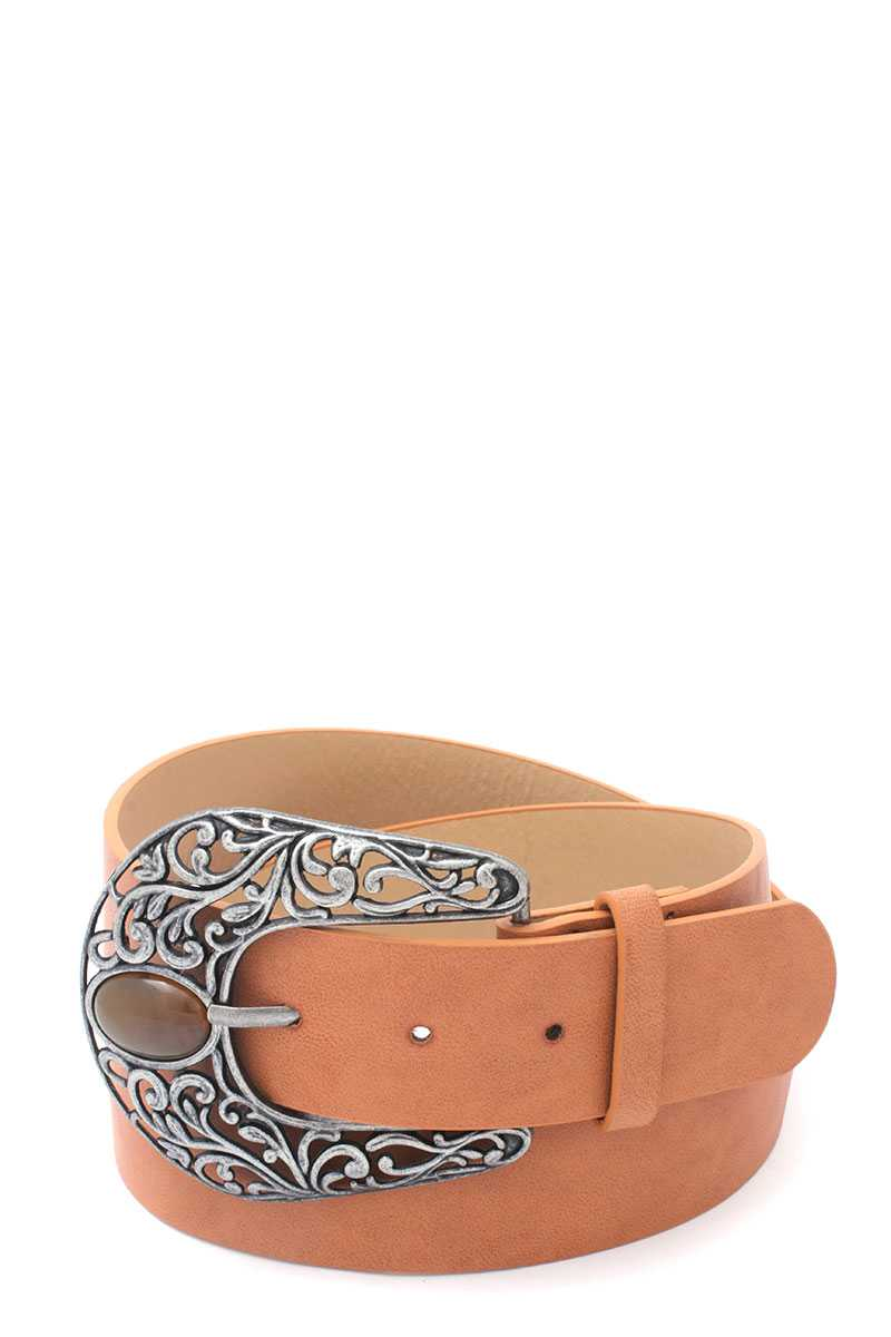 Cut Out Filiree Metal Buckle Pu Leather Belt