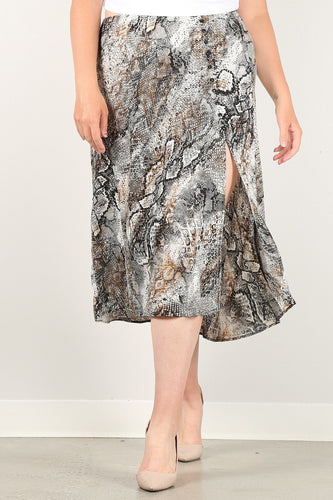 Snakeskin Print Skirt With High Waist, Button Trim, And Side Slit