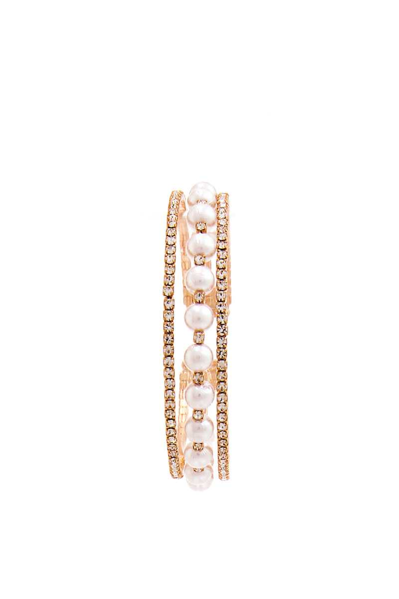 Rhinestone And Pearl Trendy Bracelet