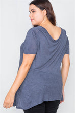 Load image into Gallery viewer, Plus Size Indigo High-low Relaxed Fit Raw Hem Top