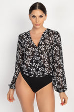 Load image into Gallery viewer, Floral & Shadow Striped Front Wrap Bodysuit