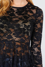 Load image into Gallery viewer, Long Sleeve Round Neck Peplum Lace Top
