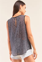 Load image into Gallery viewer, Grey And Black Sleeveless Relaxed Fit Brick Pattern Print Mesh Round Neck Top
