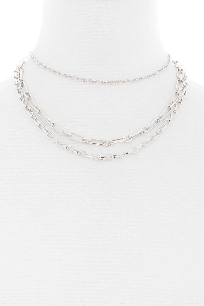 3 Layered Metal Chain Necklace