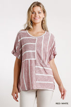 Load image into Gallery viewer, Horizontal And Vertical Striped Short Folded Sleeve Top With High Low Hem
