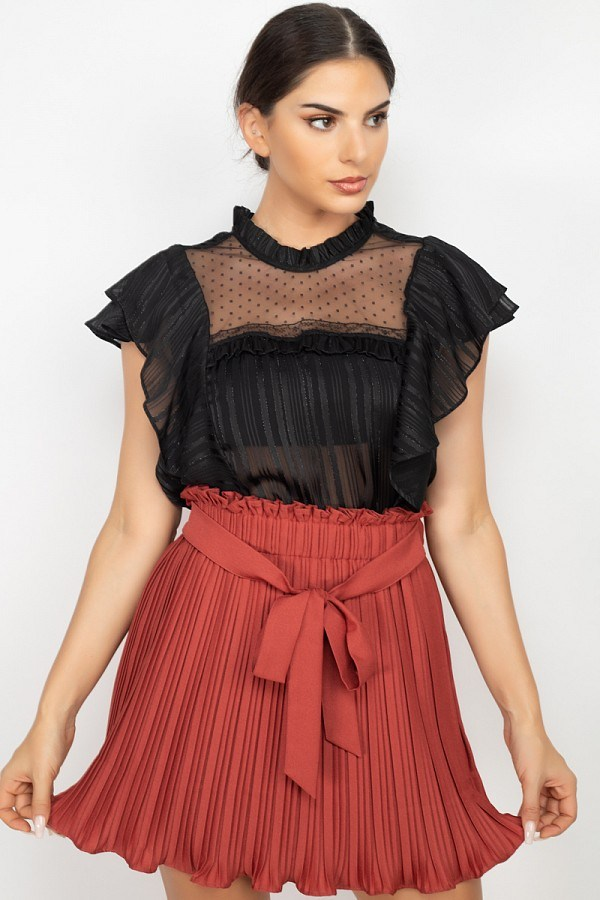 Short Sleeve Ruffle Shadow Top
