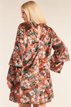 Load image into Gallery viewer, Plus Size Floral Print Velvet Long Layered Hem Sleeve Mini Dress