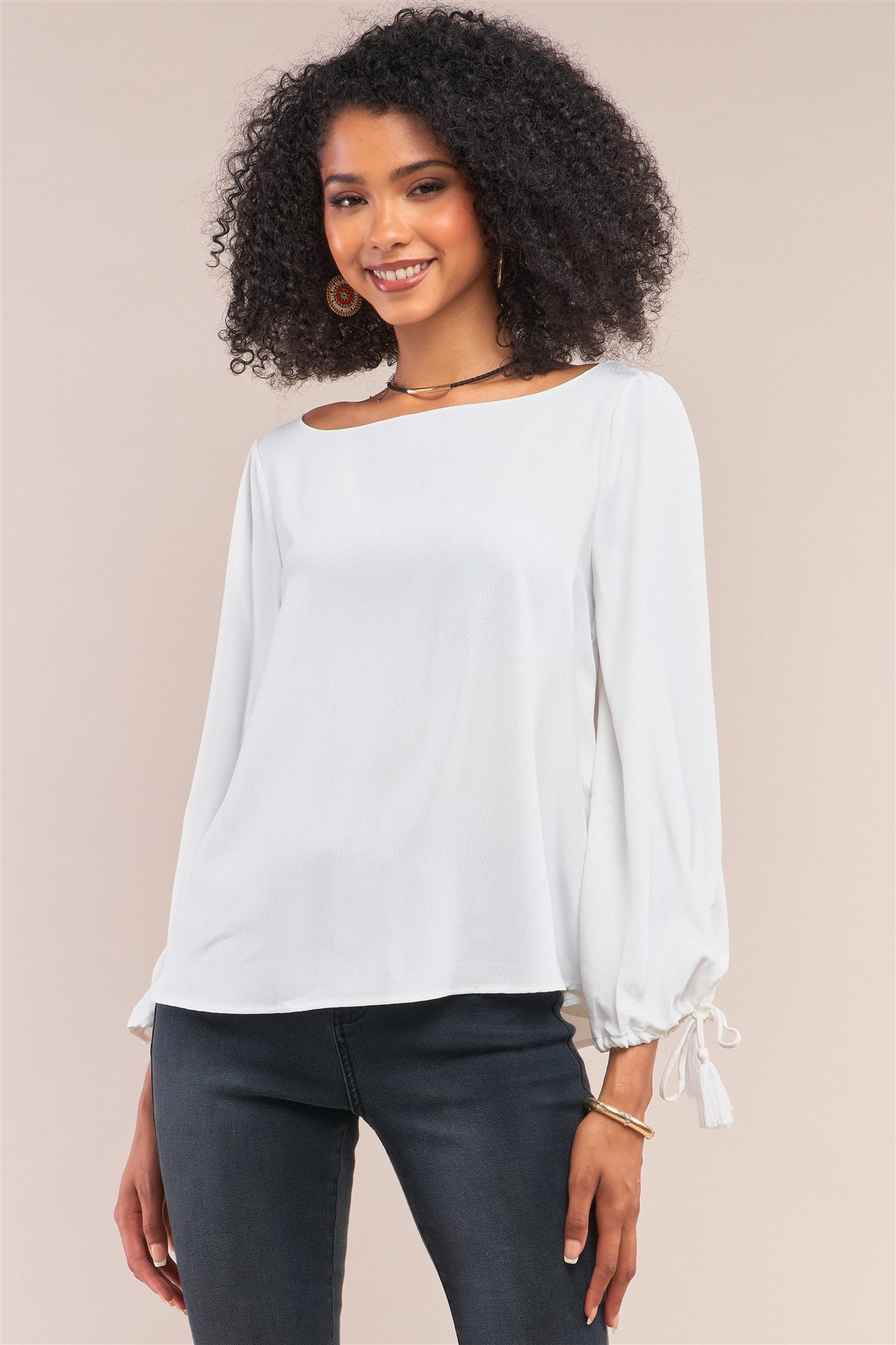 White Bateau Neck Relaxed Fit Tassel Tie Detail Long Sleeve Blouse