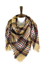 Load image into Gallery viewer, Plaid Square Blanket Scarf