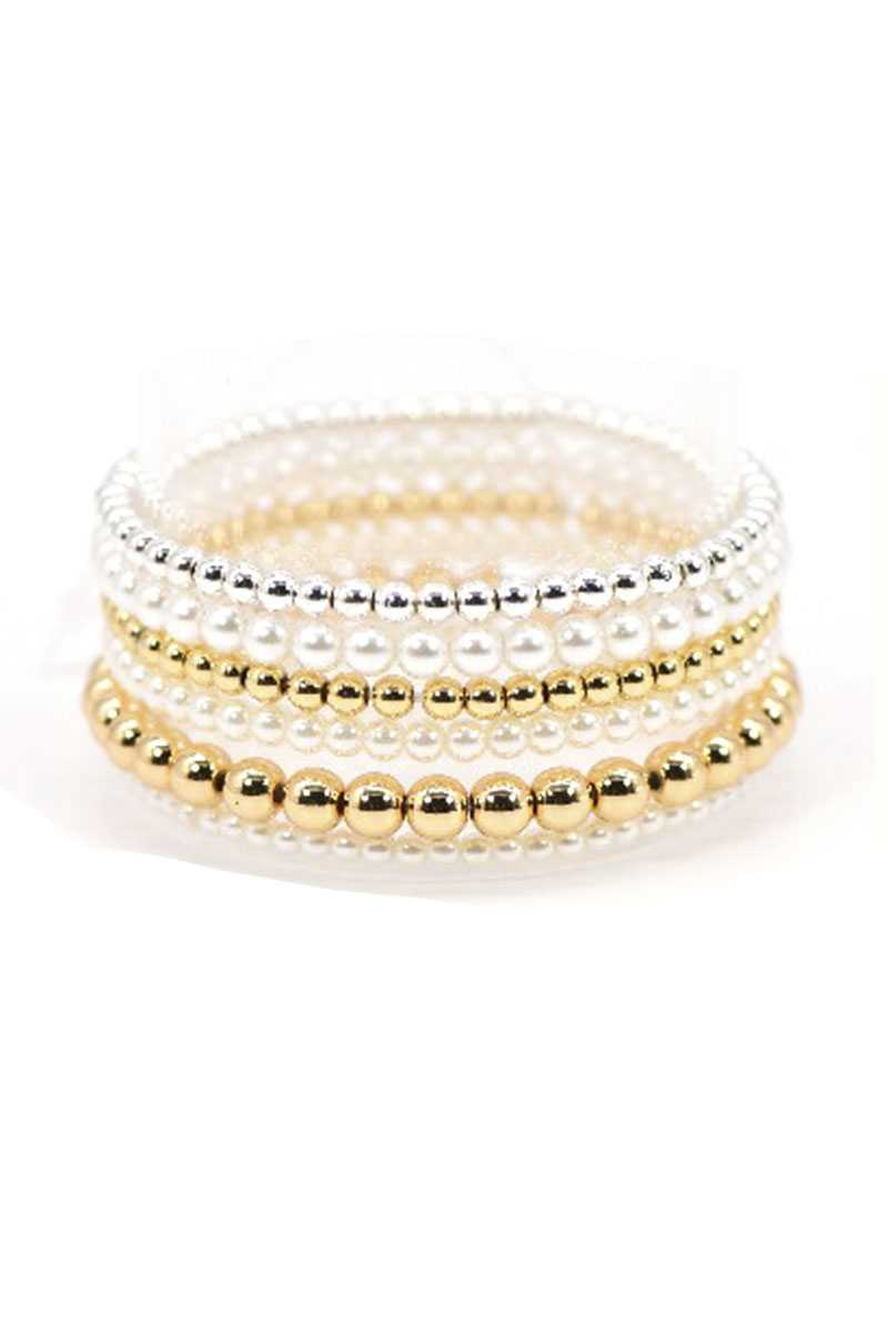 Pearl And Metallic Balls Stretch Bracelet