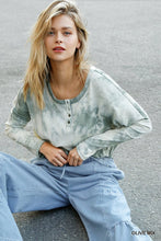 Load image into Gallery viewer, Tie Dye Round Neck Ribbed Button Front Top With Round Hem