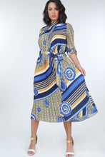 Load image into Gallery viewer, Pleated Print Midi Dress