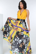 Load image into Gallery viewer, Pleated Print Maxi Skirt With Leather Waist Band