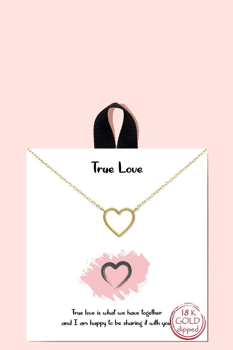 18k Gold Rhodium Dipped True Love Pendant Necklace