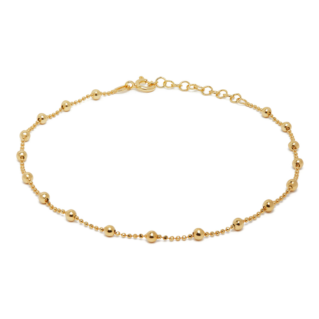 Yellow Gold Beaded Anklet