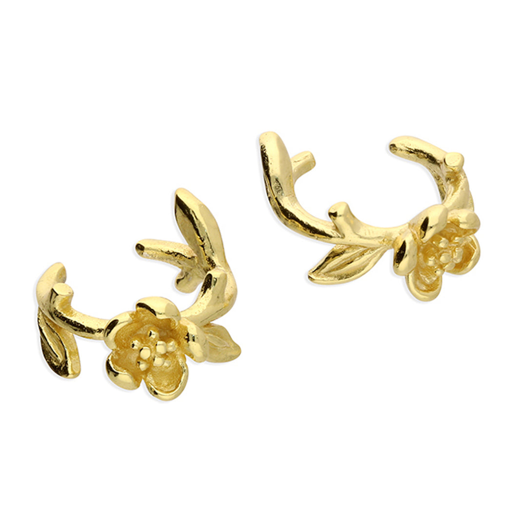 Yellow Gold-Plated Flower Ear Cuffs