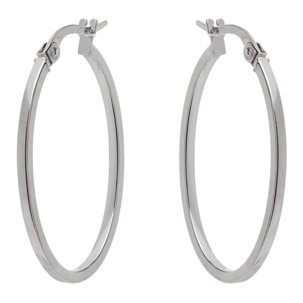 9 Carat White Gold Oval Hoop Earrings