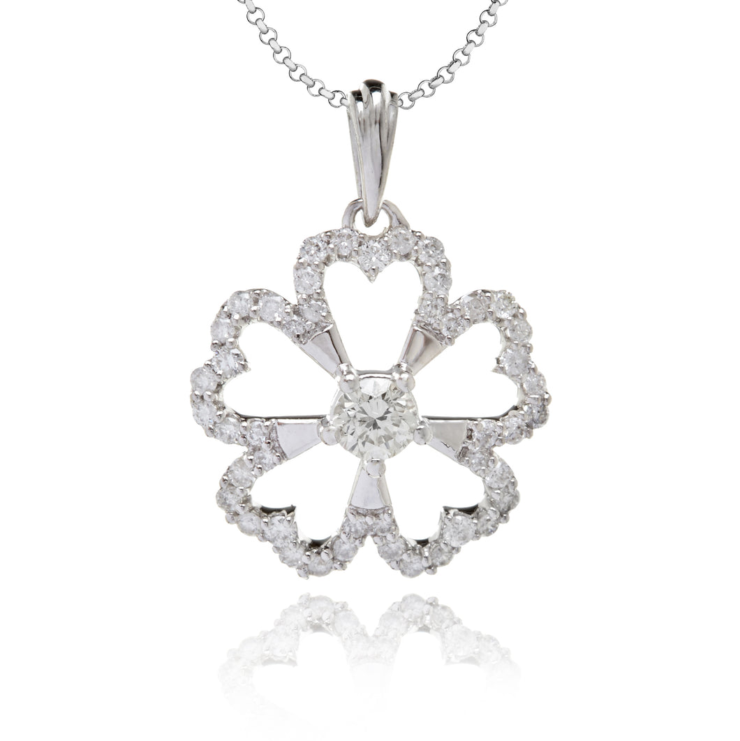 Diamond Studded Flower Pendant In White Gold