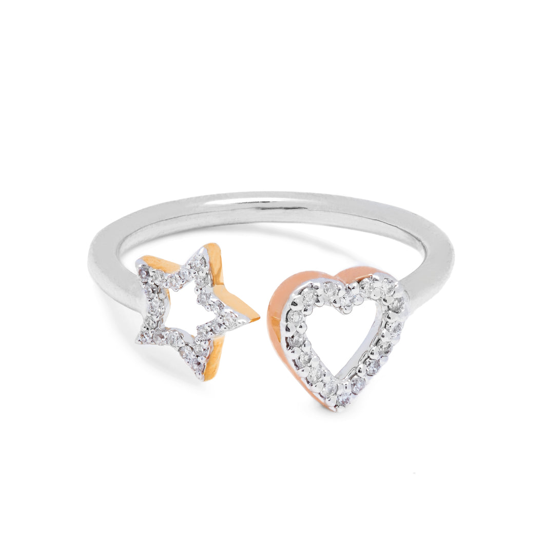 Limited Edition Open Diamond Star & Diamond Heart Ring