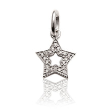 Load image into Gallery viewer, Diamond Studded Super Star Pendant In White Gold