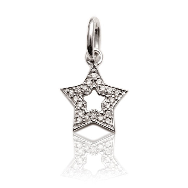 Diamond Studded Super Star Pendant In White Gold