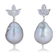 Load image into Gallery viewer, South Sea Pearls & Lotus Diamond Earrings in White Gold