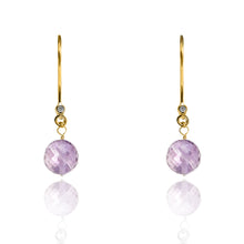 Load image into Gallery viewer, Amethyst Drop Earrings February Birthstone in Yellow Gold