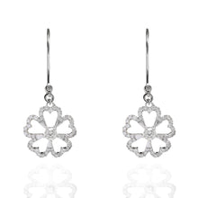 Load image into Gallery viewer, Twin Dangly Flowers Diamond Earrings