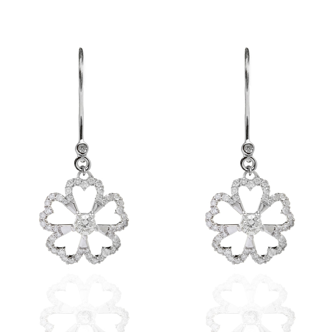 Twin Dangly Flowers Diamond Earrings