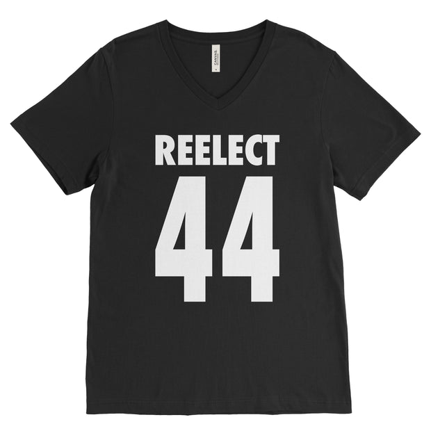 Reelect 44 v-neck V-neck Reelect Obama Black XS